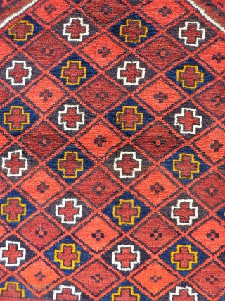Turkoman Kizil Ayak.  A cute prayer rug with nice wool, full pile and checkered central field. Mint condition with full pile. 122x68cms (A1812020).  Please get in touch or buy this rug online  ...