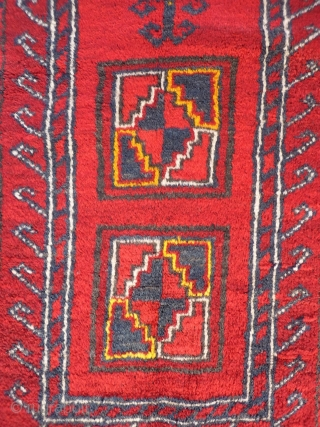 A Kyrgiz prayer rug from North East Afghanistan. Nice soft wool and in mint condition with typical Uzbek yellow highlights. 116x83 cms, (A1710034).  Please get in touch or buy this rug directly from  ...