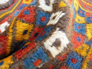 Uzbek bag. The saturated colour achieved with natural dyes, the quality of the wool, together with a gabbeh like design, make this bag a very special item. Even reminds us of some  ...