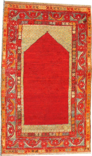 Anatolian Prayer Rug with the softest wool and the plainest field.