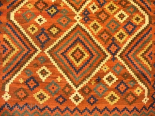 Luri Kilim, 228x161, goat hair warp, earthy tones, 19th C. excellent condition with original fringes.
