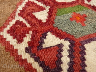 Little Qashqai kilim with a camel ground background and a lovely turquoise blue-green in the middle. 60x53 cms, (K1705456)