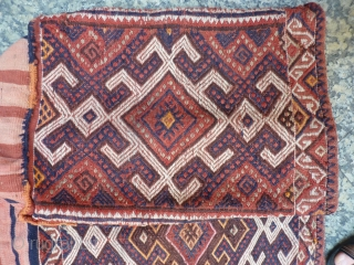 One of a pair of n.w. Iran, Azeri Mafrash, 53cm high x 43cm wide x 93cm long, earthy colours, extra warp wrapping motifs, good original condition including intricate edge binding. Ideal for  ...