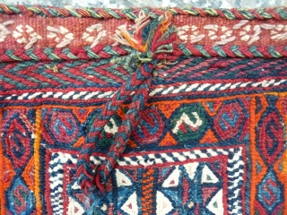 Qashqai chanteh, 30x30cms, soumak front with kilim rear, complete original condition with integrated closure loop detail.