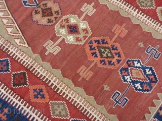 Anatolian kilim from the Obruk area, 19th century in tip-top condition, fine weave in all natural colours and closely following the traditional patterns from this area, normally these Anatolian kilims have endured  ...