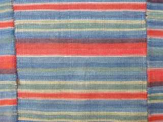 """Tibetan 3-panel """"pangden"""" or womans apron front, super fine woollen flatweave in very good condition, 76x71cms, nice colours and patina."""