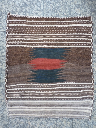 Karkas mountains soffreh, Iran, 93x80cms, undyed wool background with abrashes in shades of brown, cream and grey, with artistic central motif in blue-green and terracotta,excellent condition with original fringes and selveges, no  ...