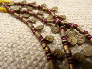 Just back from North East India. Nagaland tribal necklace with brass and glass beads, three strands, 46 grms, 44cms.