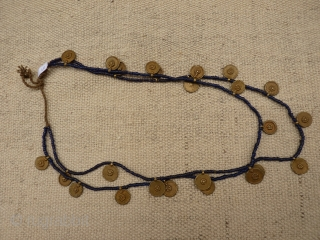 Just back from North East India. Fine Nagaland double necklace with old glass beads and brass. 70 grms, 71 cms