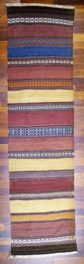 A naturally dyed Belouch runner with a superb range of colours and in good original condition. 310x80 cms k1802054