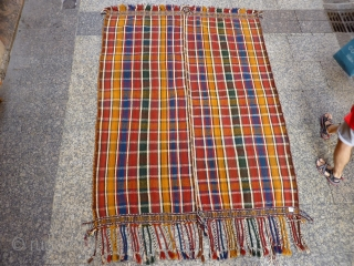 A moj with a very unusuall finish with complementary-weft weave border, quite common in Qashqai kilims but very rare in a moj (as jajims are called in South West Iran). Finelly woven  ...