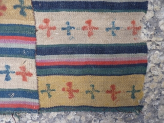 "Somewhat slightly dazed, Tibetan womans apron, or Pangden, with extremely fine wool, woven in strips or one long strip cut and sown together, with tie dye technique to make crosses or ""gyung  ..."