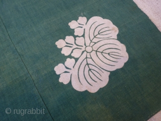 "Japanese ""Furushiki"" cotton cloth, which was folded and tied for carrying small objects. Made from three strips of cloth hand stitched together. a ""kamon"" stylised flower family crest was drawn in rice  ..."