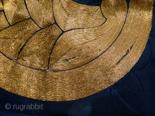 """Meiji era """"fukusa"""" small cloth used to present a gift (the cloth stays with the giver!), pomegranate seed (?) """"kamon"""" motif gold thread on dark indigo dyed silk, 56x60cms, two tiny 1mm  ..."""