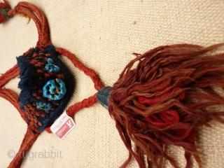 Bakhtiari donkey or horse muzzle trapping. Sheep´s wool and turquoise ceramic beads.