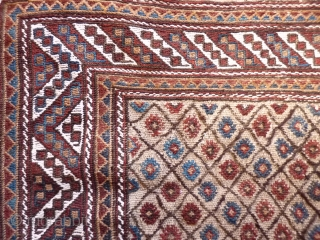 Southern Iran, Arab Laberduni kilim, 225x171, all natural colours from about 1910, excellent original condition.