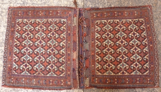 Superb Persian Arabic saddlebag (the camel bag posted is part of the set). 19th century. Beautiful terracotta and turquoise blue, soumak front and plain weave back, finely woven and in very good  ...