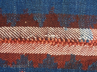 Large moj, all good colours, quite thick and heavy for a moj (feels more like a kilim). No repairs, stains or signs of wear. Plaited at one end and looped at the  ...