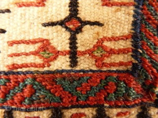 Superb extra finelly woven Bakhtiari chantah. Goat hair for the side cords and black weaving areas. Front and back are identical. Some staining and (badly) rewoven sides, otherwise, the front and back  ...
