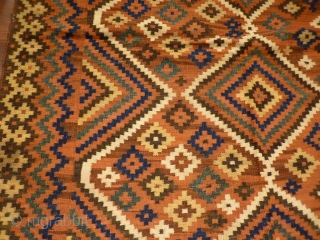 Rare Luri kilim (the lost cousin of a Tartari weaving), very good range of colours and abrashes. Strong kilm in perfect condition with shinny wool and original fringes. Good square size (228x161cms).
