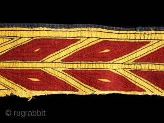 Chyrpy collar cod. 0019. One of the item just added on my website www.nonplusultra.cloud. Hand-embroidered very fine silk lacing stich (kesdi) on yellow handwoven silk. Tekkè people. Central Asia.19th. century. Good condition.  ...