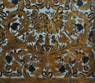 Gilt leather wall hanging. 17th. century (1638 – 1660). Embossed in relief and coloured with dominant gold – blue colors. Manufactored in Italy by an unknown artist. Professionally restored in 1995. Very  ...