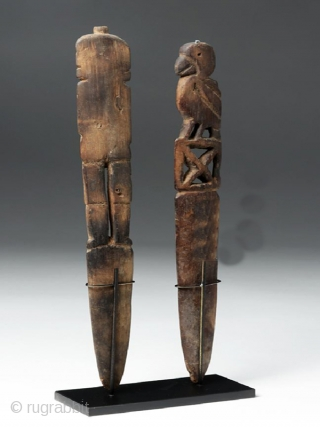 A pair of wooden loom sticks cod. 0733. Chancay culture. Perù. Ca. 1000 to 1470 A.D.  Well-preserved for their material and age. Size of flute player (they are similar in size):  ...
