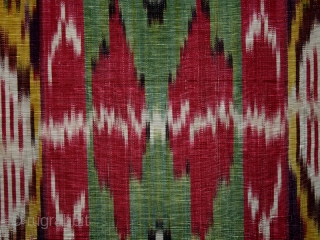 "Ikat fragment cod. 0663. Silk. Bokhara area. Central Asia. Late 19th. century. Cm. 46 x 40 (1'6"" x 1'4"")."