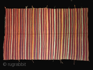 """Flatwoven cover with polychrome stripes cod. 0383. Wool. Berber people. Morocco. Mid. 20th. century. Very good condition. Cm. 150 x 243 (59"""" x 96"""")."""