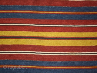 "Kilim cod. 0497.One of the items posted on my new website www.nonplusultra.cloud. Wool, natural dyes. Uzbekistan.Late 19th. century. Perfect condition. Cm. 177 x 399 (5'10"" x 13'1""). Eleven transverse stripes sewn together.  ..."