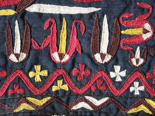 """Chirpy side panel. Silk on cotton. Tekke Tribe. Central Asia. Late 19th C. Very good condition. Cm. 42 x 78 ( 1'5"""" x 2'7""""). The side panel from a woman's garment ('chyrpy') exhibiting  ..."""