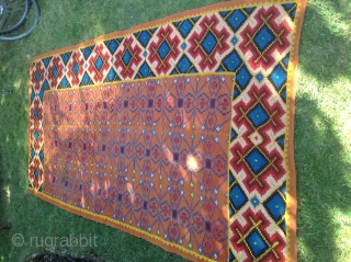 Finely two sides woven kilim, Caucasian? Age around 1900, has a small repair, see photo, most probably used as table cloth rather than floor cover... Size 136 x 270 cm/ 4 ft 5  ...
