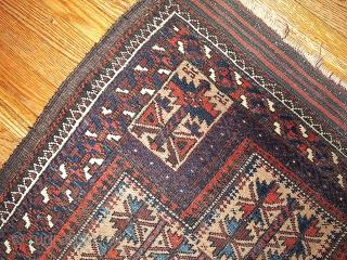#1B219  Hand made antique collectible Turkoman prayer Baluch rug 2.10' x 5.3' ( 91cm x 161cm) C.1880