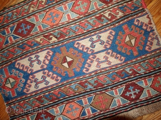 #1B313  Hand made antique collectible Caucasian Sumak pair of bag faces 1.4' x 1.8' ( 42cm x 54cm) C.1900