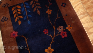#1B553  Hand made antique Art Deco Chinese rug 3.1' X 5.9' ( 94cm x 180cm ) C.1920
