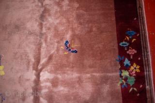 Handmade antique art deco Chinese rug 6.1' x 16.10' ( 186cm x 517cm) 1930s - 1B468