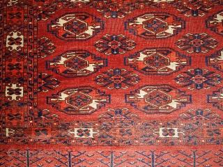 #1B337  Handmade antique collectible Turkoman Yomud rug 2.10' x 4.4' ( 89cm x 134cm ) C.1880