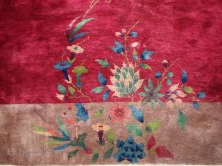 #1B171A  Hand made antique art deco Chinese rug 8.10' x 11.6' ( 273cm x 353cm) 1920.C