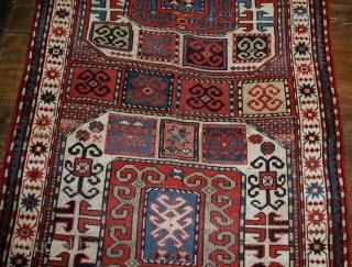 Handmade antique Caucasian Karabagh rug 4.2' x 8.3' (128cm x 253cm) 1880s - 1B523