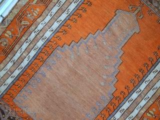 #1C425  Hand made antique Turkish Anatolian prayer rug 3.3' x 4.6' ( 100cm x 141cm ) 1940