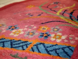 Handmade antique oval Art Deco Chinese rug 2' x 3.7' ( 60cm x 115cm ) 1920s - 1C445