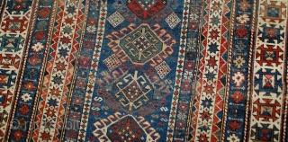 #1B517  Hand made antique Caucasian Kuba rug 3.10' x 5.3' ( 119cm x 161cm ) C.1890s
