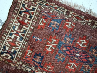 #1C09  Hand made antique collectible Turkoman Yomud rug 1.2' x 3.2' ( 36cm x 97cm ) C.1880s