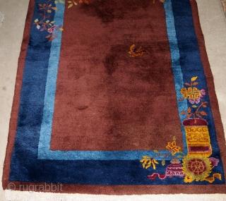 Handmade antique Art Deco Chinese rug 3' x 4.11' ( 91cm x 151cm) 1920 - 1B578