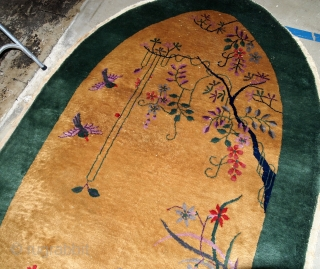 Handmade antique Art Deco Chinese rug 4' x 6.7' ( 122cm x 204cm) 1920 - 1B581