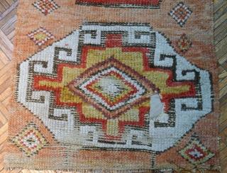 Handmade antique Turkish Konya collectible fragment 1.10' x 3.8' ( 58cm x 116cm ) 1760s - 1B588