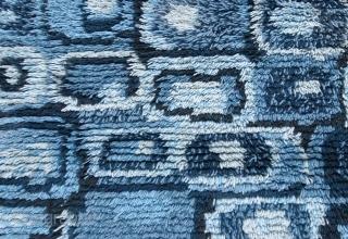 Handmade vintage Swedish Rya rug 2.10' x 5.3' ( 83cm x 163cm ) 1950s - 1B597