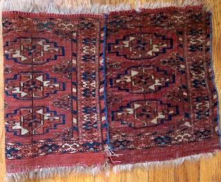 Handmade antique Turkmen Tekke Torba rug 1' x 2' ( 30cm x 63cm) 1880s - 1B602