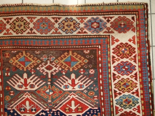 #1C249  Hand made antique Caucasian Kazak runner 4' x 9.2' ( 123cm x 281cm ) C.1880s