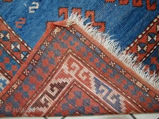 #1C426  Hand made antique Caucasian Kazak rug 3.9' x 6' ( 120cm x 185cm ) C.1900s